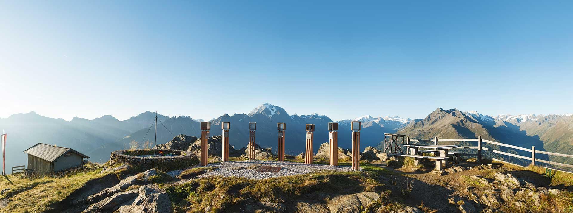Ausblick auf die Seven Summits im Stubaital